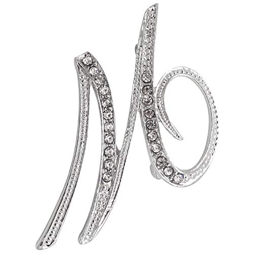 (L'vow Clear Crystal Script Initial 26 Letter A - Z Brooch pin (M))