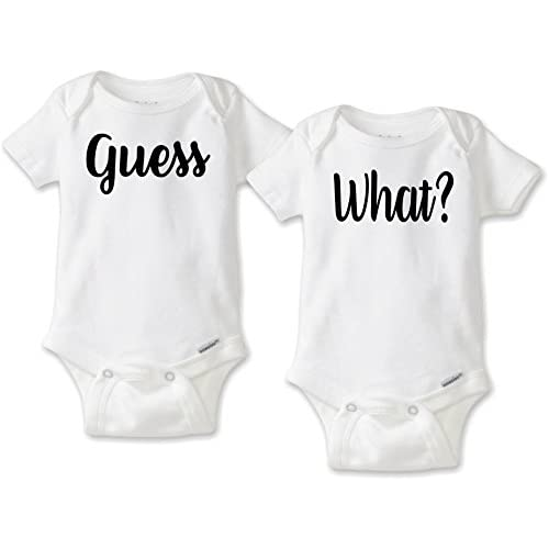 718277f62 Guess What - Twin Pregnancy Birth Reveal Set (Choice of Gerber Onesies Brand  or Short