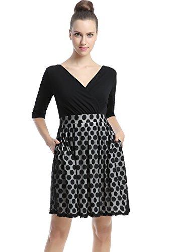 phistic Women's Bailey Polka Dot Skirt Fit & Flare Dress - Black - Bailey Clothing Brand