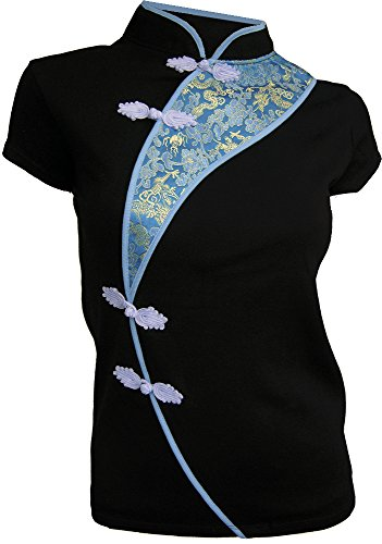 Amazing Grace Sexy Chinese Dress Top (XX-Large, Blue October (Chinese Womens Jacket)