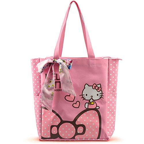 Large Space Women Canvas Handbag Zipper Shopping Shoulder Bag Paris Hello Kitty