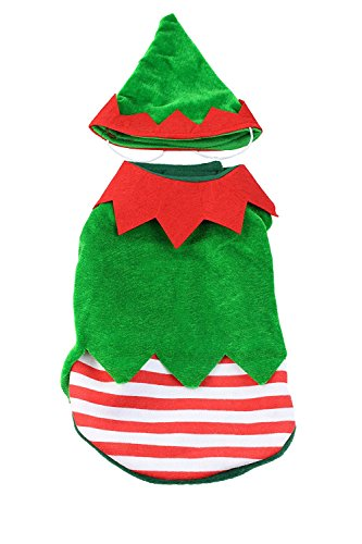 [Small Dog Small Elf Costume with Hat by Midlee] (Elf Costume Made Out Of Felt)