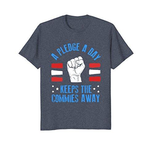 Mens A pledge a day keeps the commies away - political tee XL Heather Blue