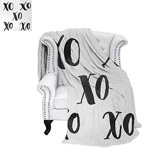 (Throw Blanket Hugs and Kisses Letters Written Classic Old Fashioned Calligraphy Romance Print Warm Microfiber All Season Blanket for Bed or Couch 80