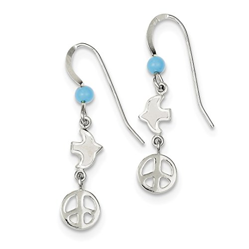 925 Sterling Silver Enameled Dove Peace Symbol Drop Dangle Chandelier Earrings Inspiration Animal Bird Fine Jewelry For Women Gift Set