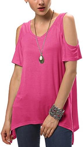 Urban GoCo Mujeres Casual Tallas Grandes Camiseta Slim Fit V Cuello Off Shoulder T/única Tops