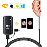 WiFi Ear Endoscope, Wireless Digital Otoscopy Camera for iPhone IPad PC for Kids Adults - Silver