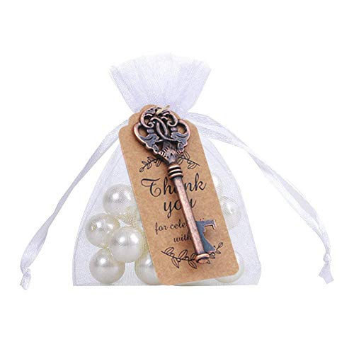 Amajoy 50 Pcs Rustic Vintage Key Bottle Opener with Thank You Card Tag and Sheer Bag for Wedding Favor Party Favors
