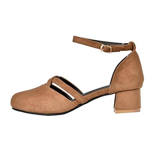 COOLCEPT Damen Mode Knochelriemchen Sandalen Geschlossene Blockabsatz Schuhe Gelb