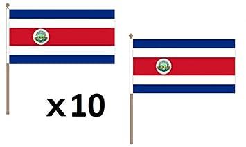AZ FLAG Bandera de Costa Rica 45x30cm con Palo de Madera - Lote de 10 Bandera