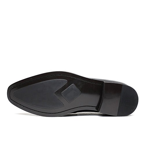 CHAMARIPA Herren Elevator Schuhe aus Glattleder Slip on Mokassin Schwarz - 7 cm höher - H71D16V162D