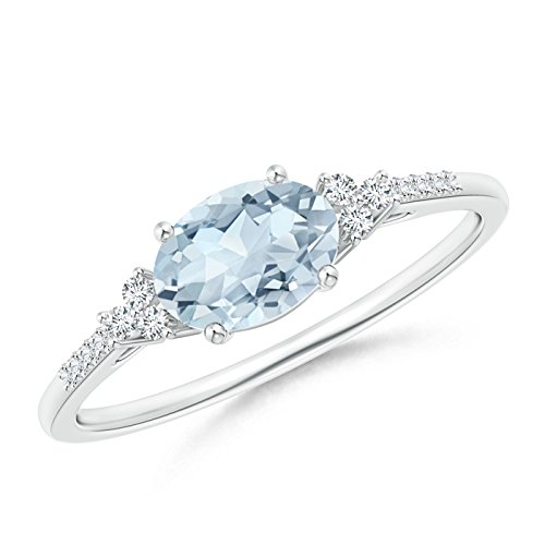 Mother's Day Offer - Horizontally Set Oval Aquamarine Solitaire Ring with Trio Diamond Accents in Silver (7x5mm Aquamarine) by Angara.com