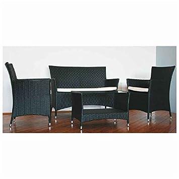 ITALFROM Salon de Jardin Set Corfu Noir 2 fauteuils Table avec Verre ...