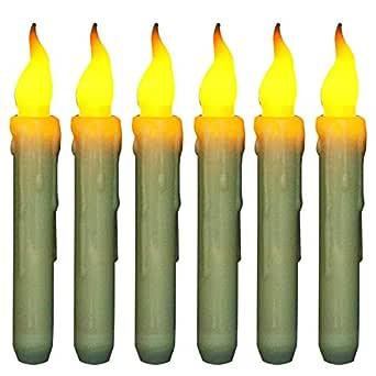 Paquete de 6 Velas Cónicas Luces LED Parpadeante Sin Llama Velas Operadas con Batería Luz para Halloween Boda Navideña, Cumpleaños, Iglesias, ...