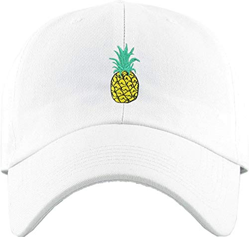 H-214-PINEAPPLE09 Dad Hat Low Profile Baseball Cap: Pineapple, White