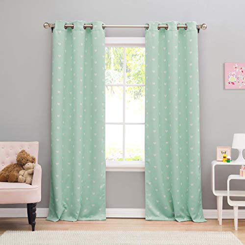 Lala + Bash - Kelly Printed Heart Pattern Blackout Room Darkening Grommet Top Window Curtains Pair Panel Drapes for Bedroom, Living Room - Set of 2 Panels - 38 X ()