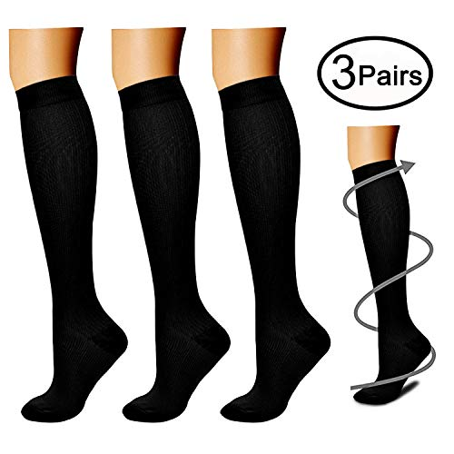 Compression Socks (3 Pairs), 15-20 mmhg is BEST Athletic & Medical for Men & Women, Running, Flight, Travel, Nurses, Pregnant - Boost Performance, Blood Circulation & Recovery (Large/X-Large, Black) by CHARMKING (Image #1)