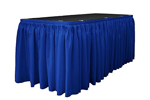 LA Linen Polyester Poplin Pleated Table Skirt with 10 Large Clips, 17-Feet by 29-Inch, Royal Blue ()