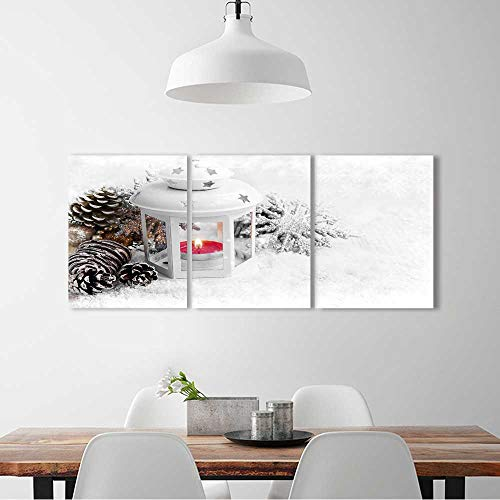(L-QN 3 Panel Wall Art Set Frameless White Christmas Lantern Burning Candle in the Snow Ice Snowflakes the kitchen, dining room, living room, bar so on W12 x H16 x 3pcs)