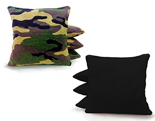 Tailgating Pros Cornhole Bags - 8 Regulation Size Corn Hole Bags - 23+ Colors Options (Green Camo/Black)