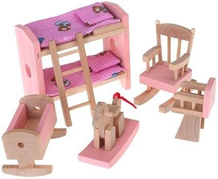 Amazon.es: Gleader Conjunto De Habitacion Mueble De Madera Para Casa De Munecas Juguete Ninos: Juguetes y juegos