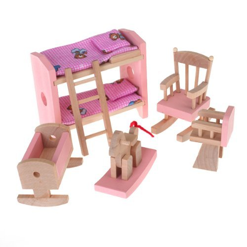 Furniture Adorable (NO:1 Adorable Wood Dollhouses Furniture Kids Bedroom Playsets DIY Educational Toys)