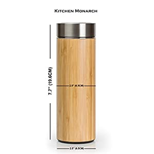 Bamboo Tea Infuser 15oz Tumbler Bottle | Insulated Double Wall Vacuum Stainless Steel Drinking Travel Flask | Coffee, Tea, Fruit, Water, Hot or Cold Drinks | Gift, Office, Work, Natural, Stylish