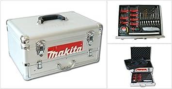 Makita - Caja de herramientas de aluminio (incluye 67 piezas, con cajones para los modelos de baterías