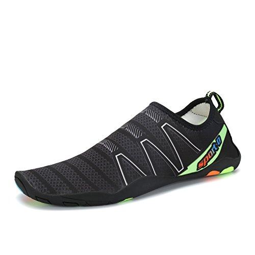 KOUDYEN Mujer Zapatos de Agua Unisex Zapato de Agua Skin Shoes descalzo Acuático Aqua Calcetines Para de Nadada de La Playa de La Resaca de La Yoga Acuático Escarpines Zapatillas Negro