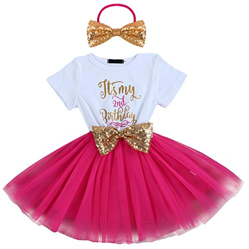 Baby Girls Newborn Christmas Birthday Party Cake Smash Princess Dress up Bowknot Sequin Tulle Tutu Dance Ball Gowns Rose 2nd + Gold -