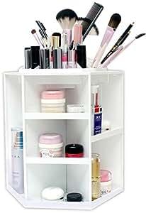 Spinning Makeup Organizer - 360 Rotating Cosmetic Storage Box, Plastic