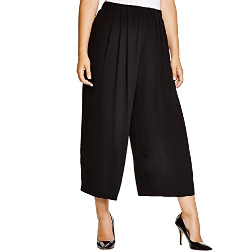 (Eileen Fisher The Icons Silk Crepe Wide Leg Ankle Pants 3X MSRP $298.00 Black)