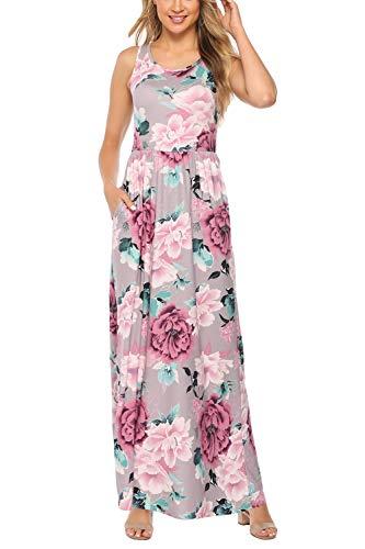 Zattcas Maxi Dresses for Women Long Vintage Floral Print Flowy Party Maxi Dress,Mauve Pink,X-Large