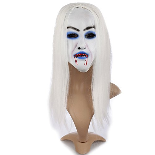 ARTSTORE Latex Horror Creepy Bleeding White Hair Witch Mask,Scary Toothy Zombie Halloween Party -