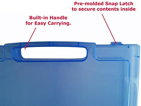 Essential Document Storage Container Translucent Quick View File Organizer A4 1 Pack Blue with handle Clear Craft and Paper Carrying Case with Handle