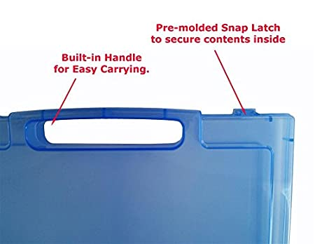 Daiso OS005 A4 1 Pack Blue with handle Clear Craft and Paper Carrying Case with Handle Essential Document Storage Container Translucent Quick View File Organizer