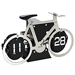 MIDCLOCK Bicycle Flip Clock, Retro Desk Clock, Flip Number Clock for Home Decor, Cool Unique Auto Flip Down Clock, Battery Powered (Stainless Steel)