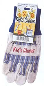 Leather and cotton gardening gloves size child 39 s large for Gardening gloves amazon