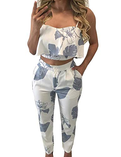 FANCYINN Women 2 Pieces Jumpsuit Romper Spaghetti Strap Top  Long Pants Casual Style M