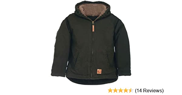 c9d194d69 Amazon.com  Berne Boys  Washed Sherpa-Lined Hooded Jacket Olive ...