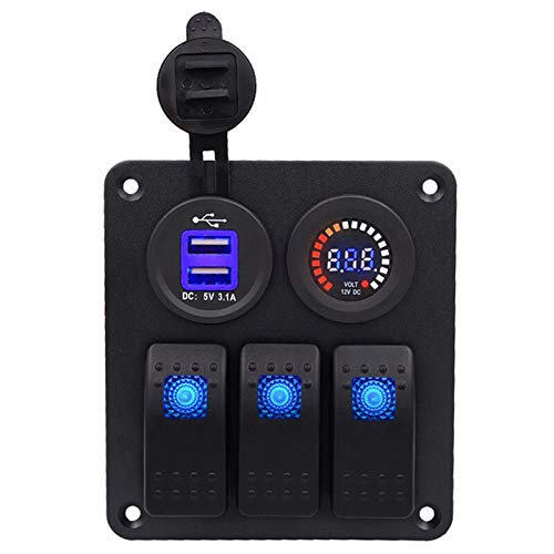 - Digital colors Voltmeter 3.1A dual USB Power Charger Waterproof Flush Mount 3Gang Rocker Switch Panel Kit for RV Auto Boat Yac