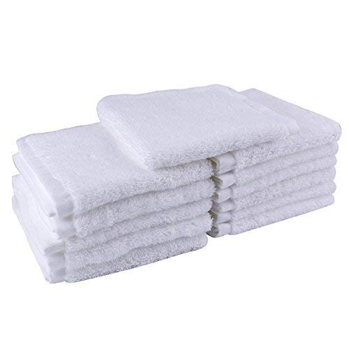 THETIS Homes Luxury Egyptian Cotton Washcloth (12-Pack, White, 12x12 Inches) - Super Soft, Fast Drying & Highly Absorbent for Bath, Kitchen, Office & Gym