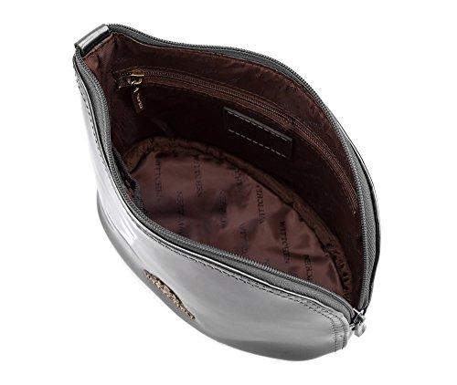 WITTCHEN Sacchetto cosmetico - Argento | 12x18 cm, Pelle verniciata, Verona - 25-3-275-S