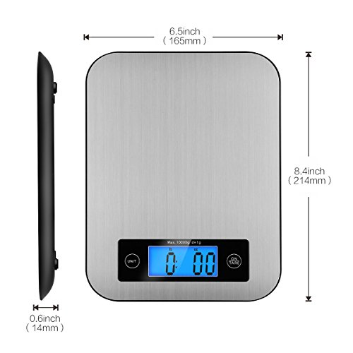 Digital Kitchen Scale Food Scales, TOBOX Postage Scale Multifunction Stainless Steel Accuracy with LCD Display and Tare Function for Baking and Cooking (Sliver) by TOBOX (Image #6)