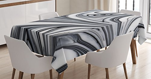 Apartment Decor Tablecloth by Ambesonne, Mix of White and Black Hallucinatory Surreal Liquid Marble Figures Graphic Image, Dining Room Kitchen Rectangular Table Cover, 52W X 70L Inches, Grey