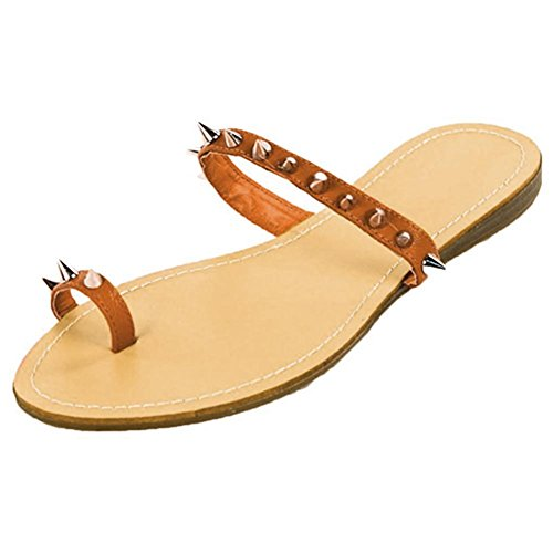 Best Tan Brown Toe Ring Spike Gladiator Slip On Sandal Casual Multicolored Tribal Boho Vegan Leather Light Weight Ethnic Thong Flat Flip Flop for Gift Idea Under 20 Dollars Women Ladies (Size 7, Tan)