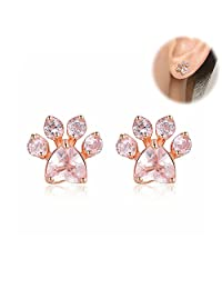 1 Pair Women's Gold Plated Paw Stud Earring Girls Quartz Ear Stud