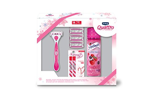 - Holiday Gift Set - Schick Quattro for Women with Skintimate Shave Gel and Softlips Peppermint Chapstick