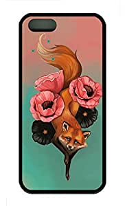 iPhone 5S Case, Personalized Protective Soft Rubber TPU Fox Tattoo01 Black Case Cover for iPhone 5 5S by mcsharks