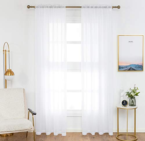 Anjee Sheer White Curtains, 96 inches Long Voile Curtain,(2 Panels ) Semi Sheer Curtain for Living Room, Dining Room, Bedroom, 54 x 96 Inches ()